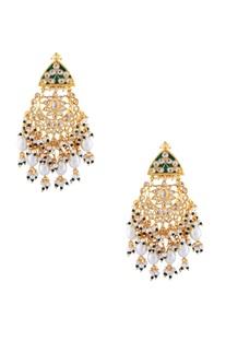 Green semi-precious stones gold plated chaandbalis