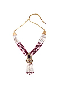 Red semi-precious stones gold plated necklace