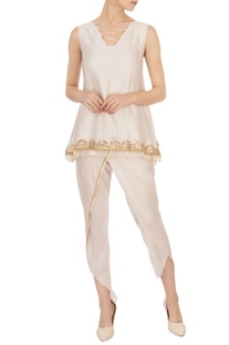 Ivory criss-cross blouse & dhoti pants