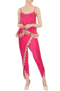 Pink spaghetti blouse & mirror embellished pants