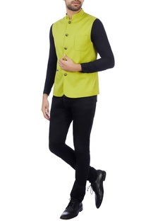 Citrine superfine wool solid nehru jacket