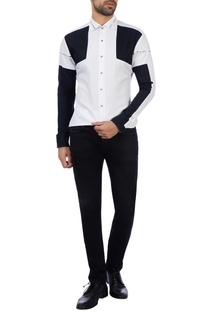 Black & white cotton color-blocked shirt