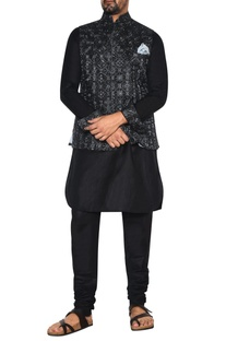 Black & grey linen nehru jacket