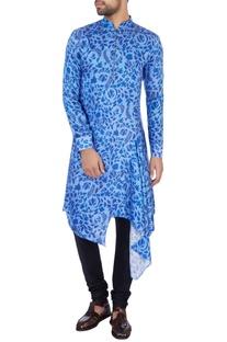 Blue modal satin printed kurta set