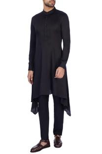 Black modal satin solid kurta and pant set