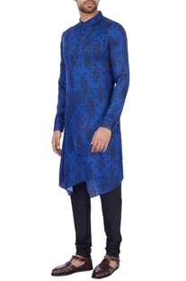 Royal blue modal satin printed kurta set
