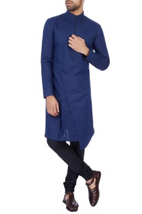 Navy Blue linen cotton solid kurta