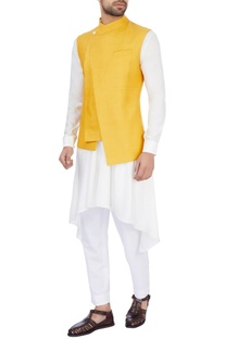 Mustard yellow silk solid nehru jacket