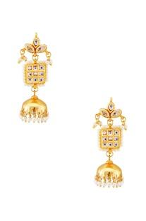 Gold pearl jhumka earrings