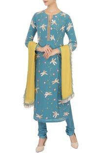 Blue pearl & sequin embellished kurta set