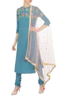 Blue sequin & pearl embellished kurta set