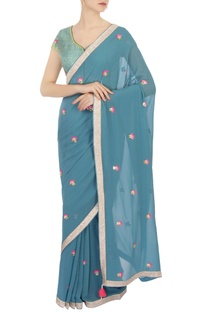 Blue georgette embellished sari with blouse