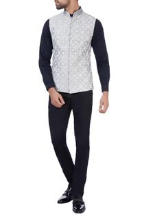 Grey raw silk thread embroidered jacket