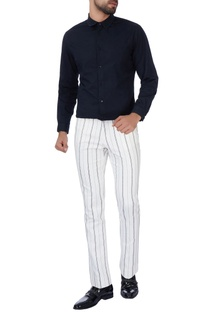 White stripe cotton pants
