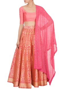 Pink banarasi silk lehenga set