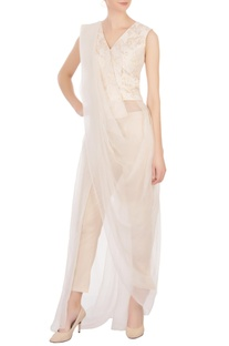 Beige printed jacquard blouse