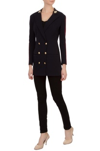 Navy blue lapel neoprene georgette jacket