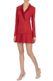 Red lapel suede georgette dress