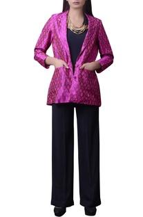 Pink printed silk short jacket