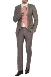 Grey cotton blend & worsted wool patterned three piece suit