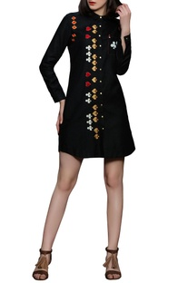 Black playing cards motif dress