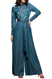 Blue slogan vintage jumpsuit