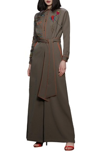Khaki brown hand embroidered jumpsuit