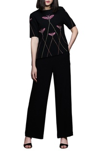 Black hand-embroidered top & pants