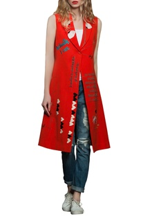 Red sleeveless long jacket