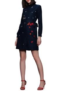 Blue embroidered shirt dress