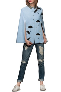 Blue umbrella motif cape