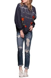 Ink blue embroidered sweatshirt