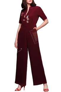 Dark red embroidered jumpsuit