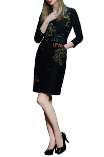 Black love motif coat dress