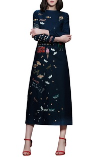 Navy blue embroidered midi dress
