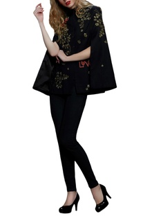 Black embroidered cape