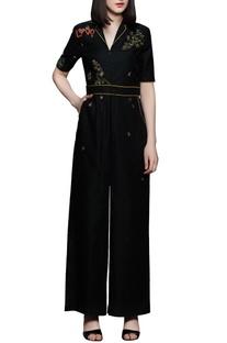 Black long belt jumpsuit