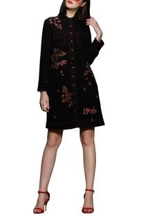 Black polyster embroidered jacket