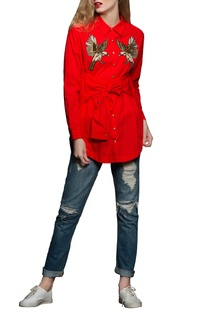 Red embroidered poplin shirt