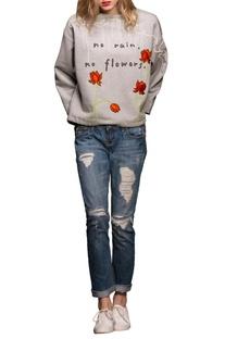Grey floral motif sweatshirt