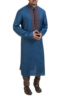 Blue embroidered kurta & churidar pants