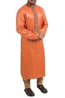 Orange hand embroidered kurta & churidar