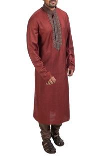 Maroon hand embroidered kurta & churidar
