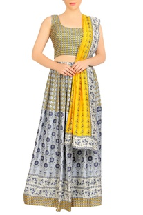 Grey & yellow printed lehenga set