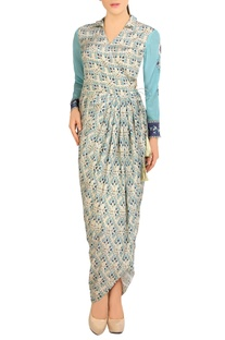 Blue & white printed dhoti dress