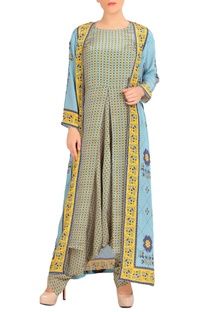 Blue & yellow dhoti jumpsuit with jacket