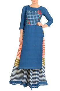 Blue crepe kurta with maxi skirt