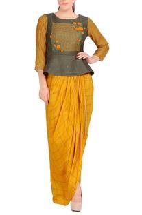 Green peplum top & yellow dhoti skirt