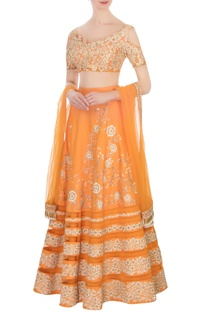 Pastel orange floral embroidered lehenga set