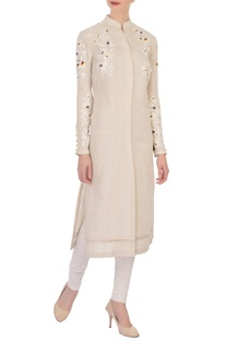 Beige linen embroidered kurta